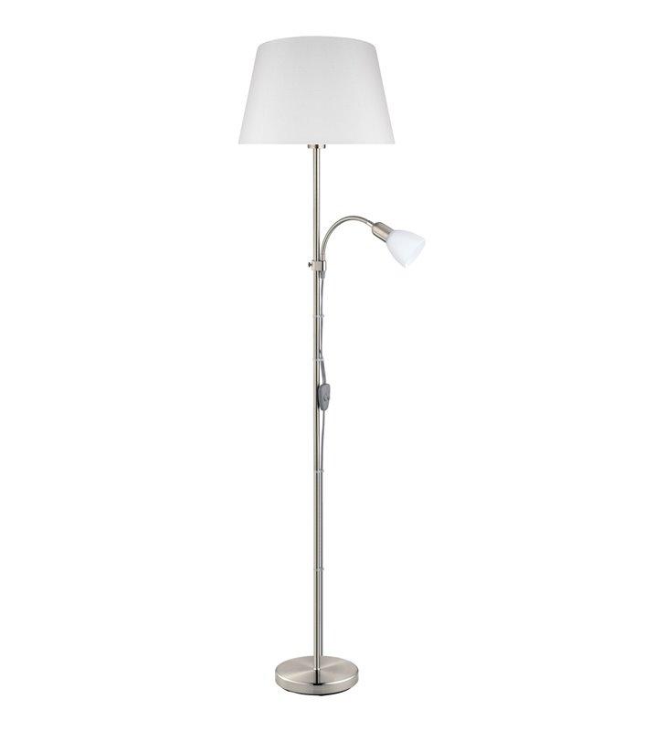 Lampa stojąca z dodatkowym ramieniem do czytania Conesa nikiel satynowany biały abażur i klosz