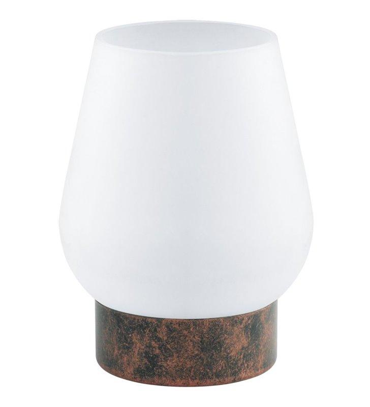 Mała lampa stołowa Damasco1 klosz szklany podstawa w kolorze antycznej miedzi
