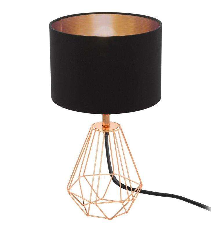 Elegancka lampa stołowa Carlton2 miedziana druciana podstawa abażur czarny z miedzianym wnętrzem
