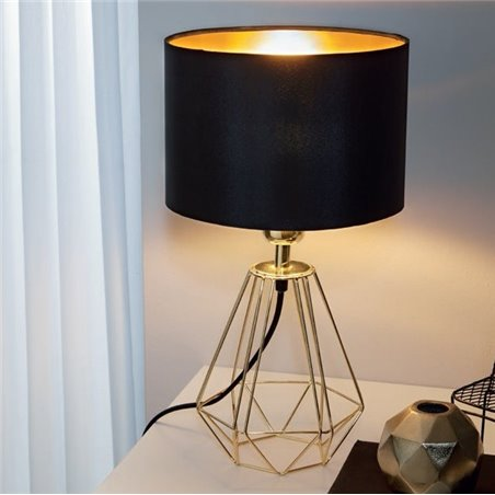Elegancka nowoczasna lampa stołowa Carlton2 druciana podstawa w kolorze mosiądzu czarno złoty abażur do salonu sypialni jadalni