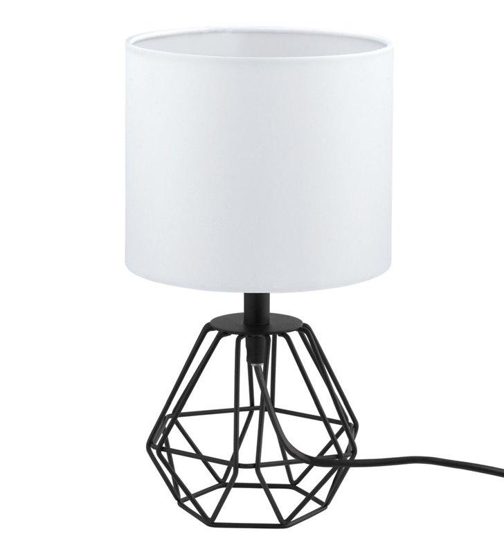 Elegancka nowoczasna biało czarna lampa stołowa Carlton2 druciana podstawa