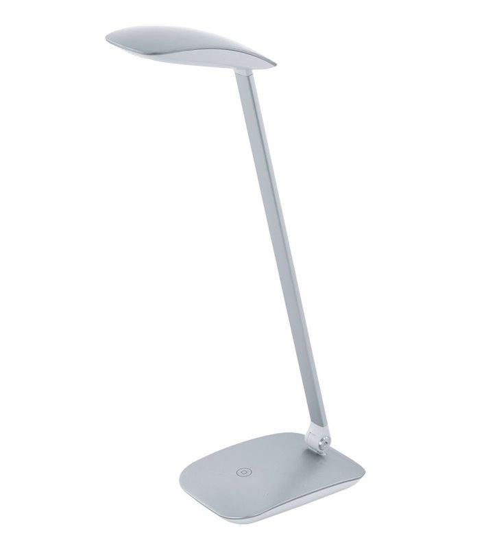 Lampa biurkowa Cajero srebrna nowoczesna ze ściemniaczem włącznikiem dotykowym