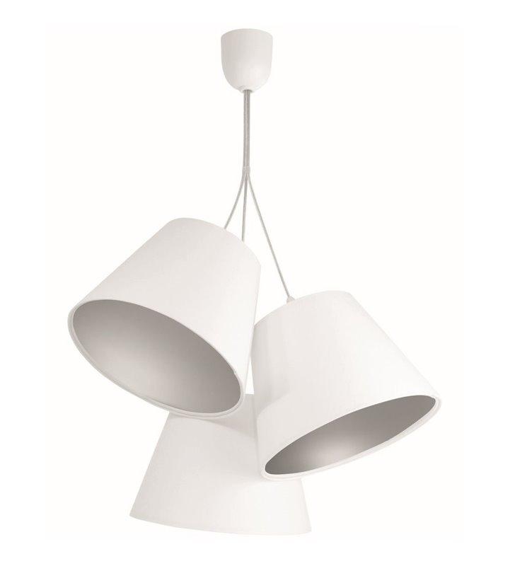 Biało srebrna lampa wisząca Ambrozja potrójna abażurowa