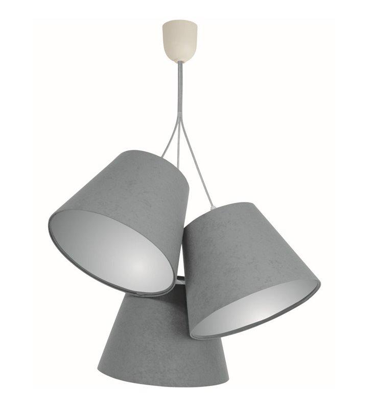 Szara welurowa lampa wisząca Adriana abażury wewnątrz srebrne - OD RĘKI