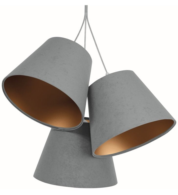 Szaro złota lampa zwisająca Adriana 3 welurowe abażury