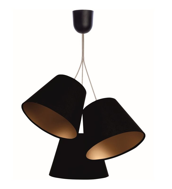 Potrójna lampa pokojowa Sonia abażury z czarnego weluru wewnątrz złote