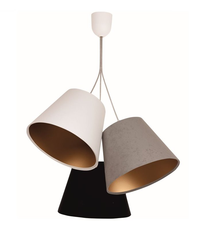 Pokojowa 3 pkt. lampa wisząca Selena abażury tekstylne kolorowe ze złotym środkiem