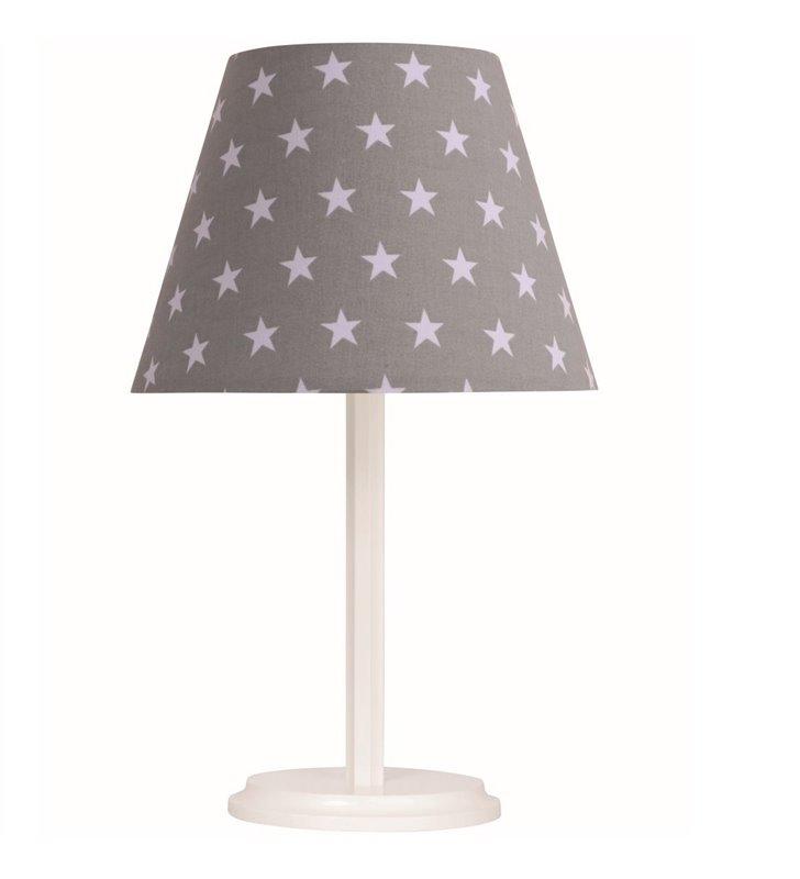 Biało szara lampa stołowa w gwiazdki dziecięca Ksenia