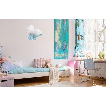 Biało niebieska abażurowa lampa wisząca w groszki Laura do pokoju dziecka