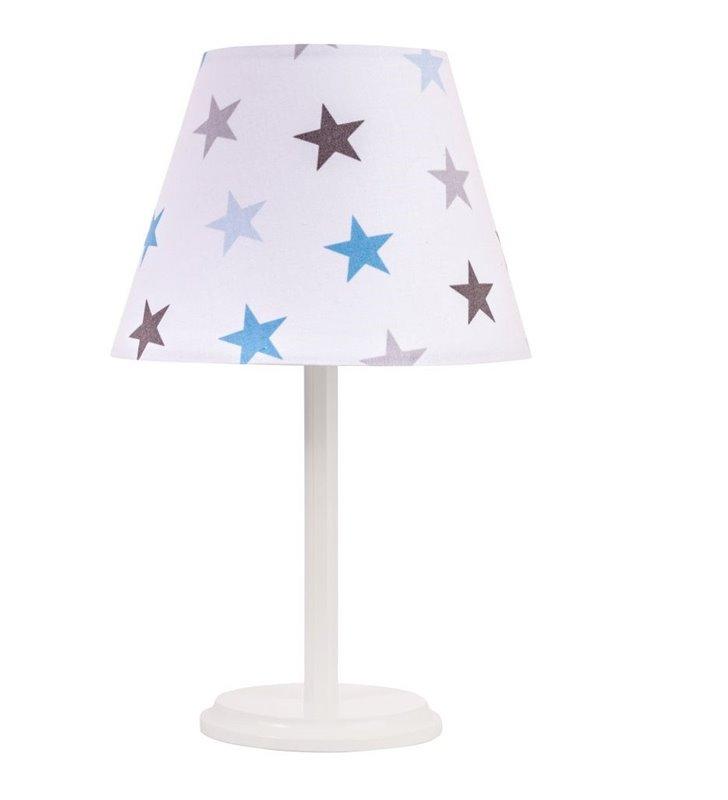 Lampka nocna Atena dziecięca biała abażur w gwiazdki