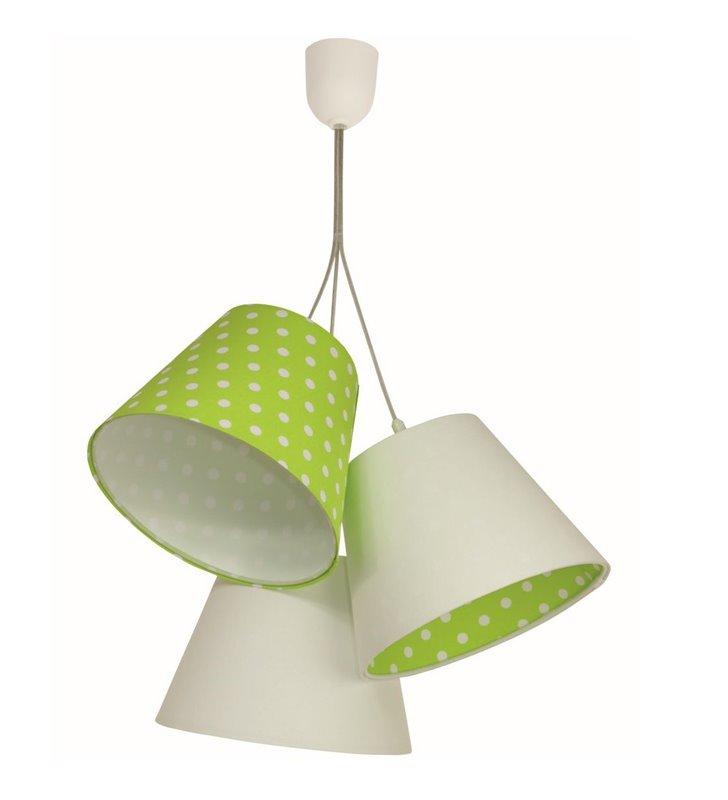 Lampa wisząca Ella biało zielona w groszki 3 abażury do pokoju dziecka