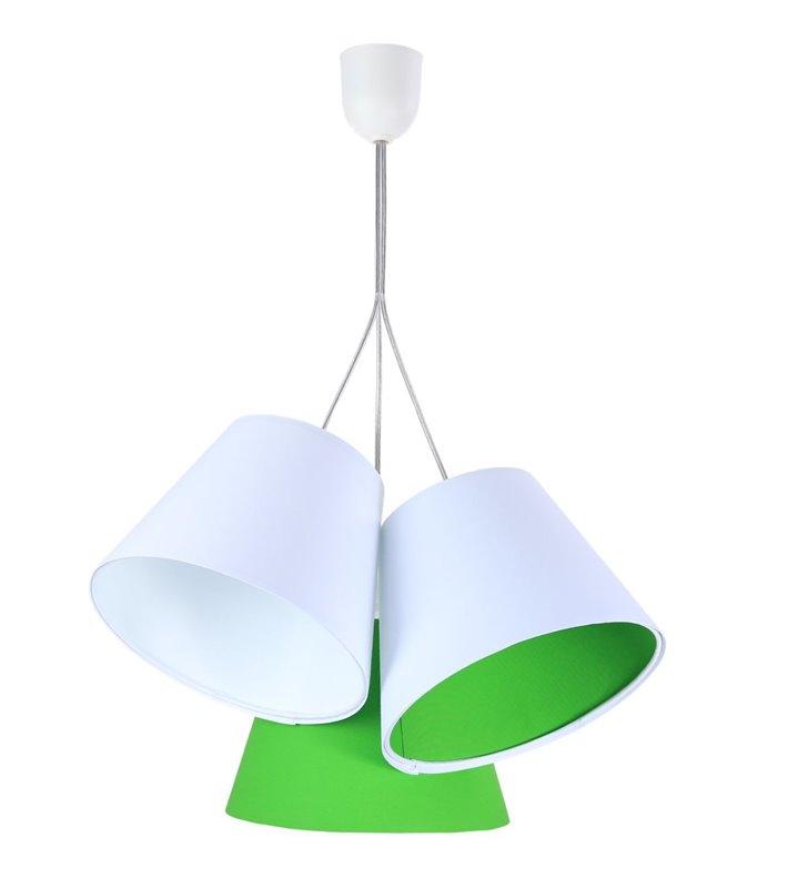 Lampa wisząca Xenia 3 tekstylne abażury biały zielony
