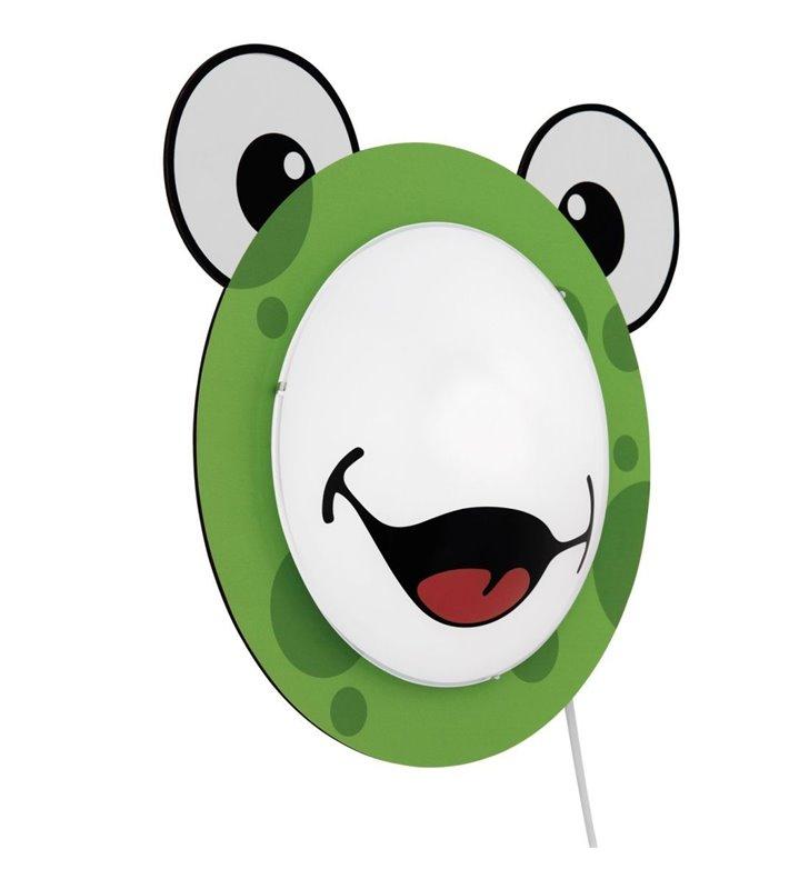 Kinkiet dziecięcy Quixi z włącznikiem na kablu uśmiechnięta żabka