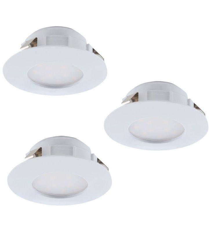 Okrągła biała oprawa podtynkowa Pineda LED z możliwością ściemniania komplet 3 szt.