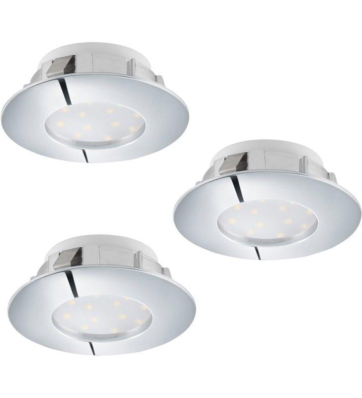 Okrągła nieruchoma oprawa do wbudowania Pineda LED chrom ściemnialna komplet 3 szt.