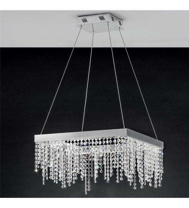 Lampa wisząca Antelao kwadratowa z drobnymi kryształami