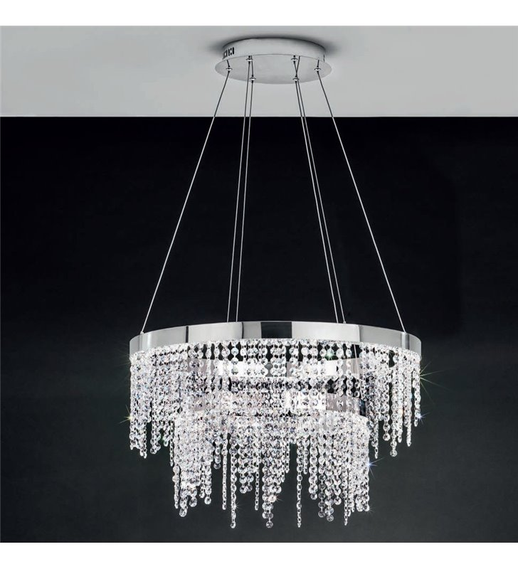 Kryształowa lampa wisząca Antelao obręcze z drobnymi kryształami do salonu jadalni sypialni