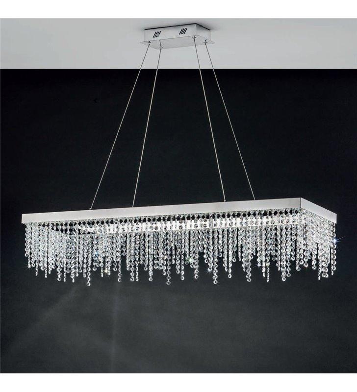 Duża chromowana lampa wisząca z kryształami Antelao LED do jadalni nad stół salonu sypialni prostokątna