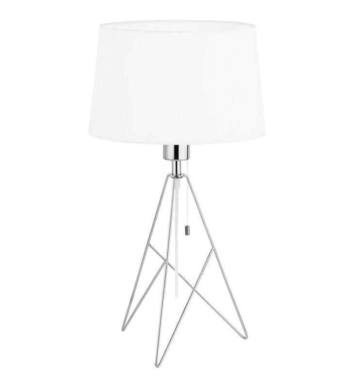 Camporale lampa stołowa na drucianej chromowanej podstawie z białym abażurem włącznik przy kloszu
