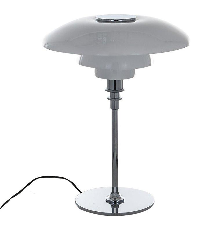 Duża lampa stołowa Roger duży szklany biały klosz podstawa chrom