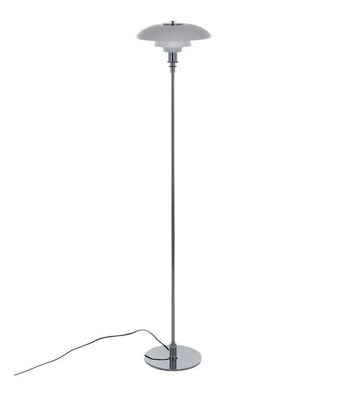 Lampa podłogowa Roger niska mały biały szklany klosz podstawa chrom
