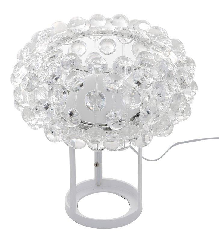 Lampa stołowa Lorna biała metalowa podstawa klosz z bezbarwnych kulek