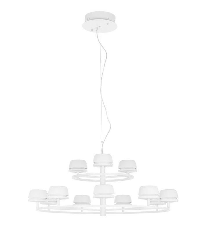 Żyrandol Miranda LED duży biały matowy piętrowy
