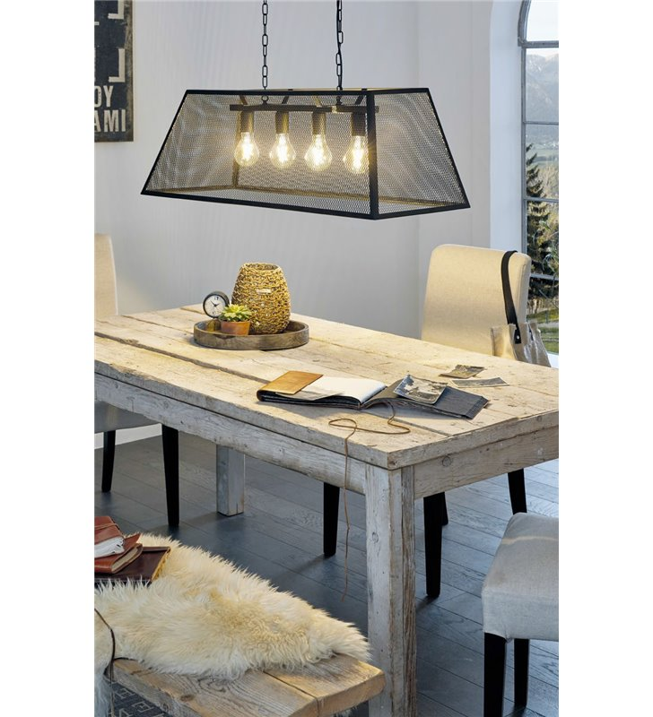 Lampa wisząca Amesbury czarna abażur z metalowej siatki trapez idealna nad stół do jadalni lub wyspę kuchenną