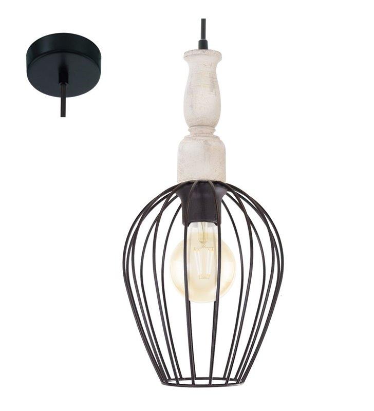 Lampa Norham wisząca druciana z elementem drewnianym