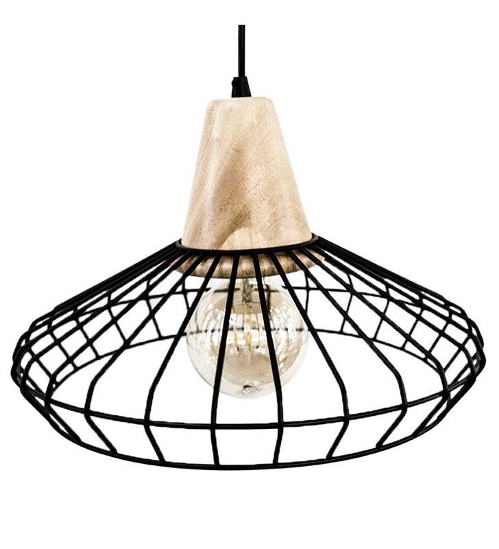Lampa Norham wisząca metalowy rozłożysty klosz z drewnianym wykończeniem do salonu sypialni kuchni jadalni