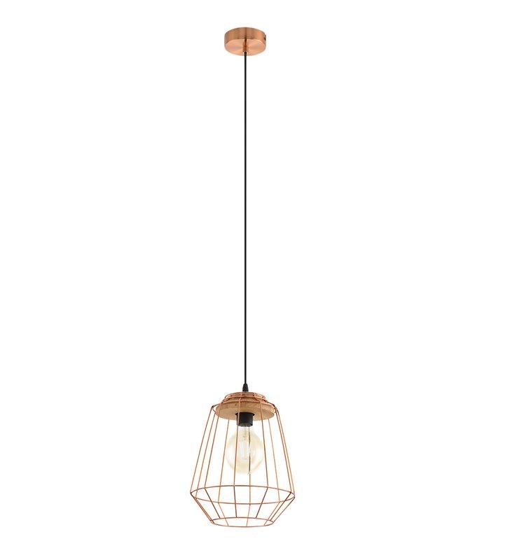 Lampa wisząca Loggans1 metalowa miedziana z drewnianym wykończeniem