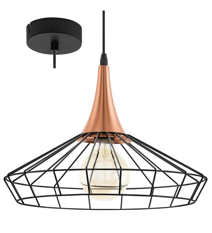 Lampa wisząca Loggans metalowy czarny klosz miedziane wykończenie styl vintage