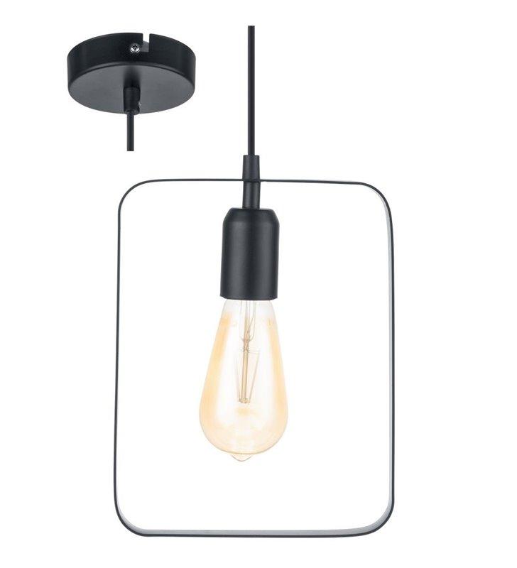 Minimalistyczna metalowa czarna lampa wisząca Bedington klosz prostokąt