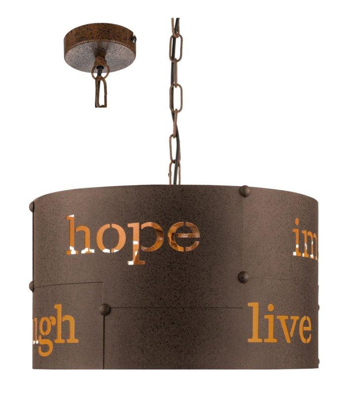 Lampa wisząca Coldingham brązowa rdzawa metalowa z napisami