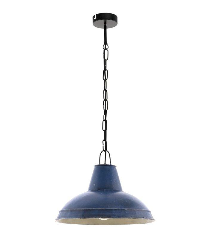 Niebieska lampa wisząca Waddeton styl vintage postarzana metalowa - OD RĘKI
