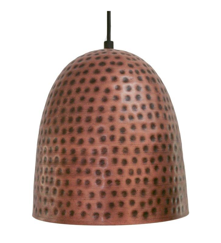 Lampa wisząca Iskal w kolorze antycznej miedzi metalowa kopuła styl vintage
