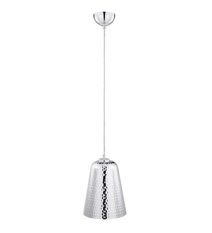 Lampa wisząca Ropley metalowa kolor chrom klosz w kształcie stożka