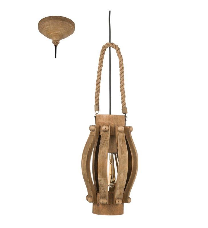 Oryginalna lampa wisząca Kinross brązowa z drewna styl vintage do salonu kuchni jadalni sypialni