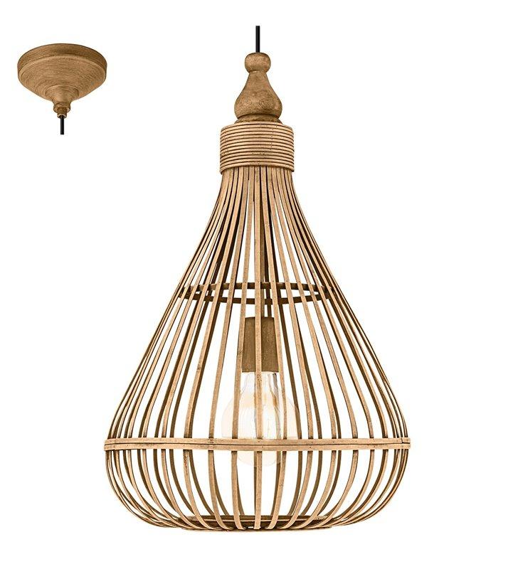 Lampa wisząca Amsfield styl vintage klosz drewniany w kształcie gruszki do salonu sypialni jadalni kuchni