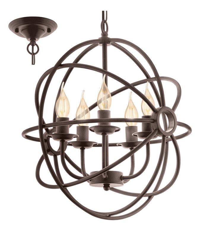 Lampa wisząca żyrandol Ebrington 5 punktów świetlnych kolor rdzawy styl vintage