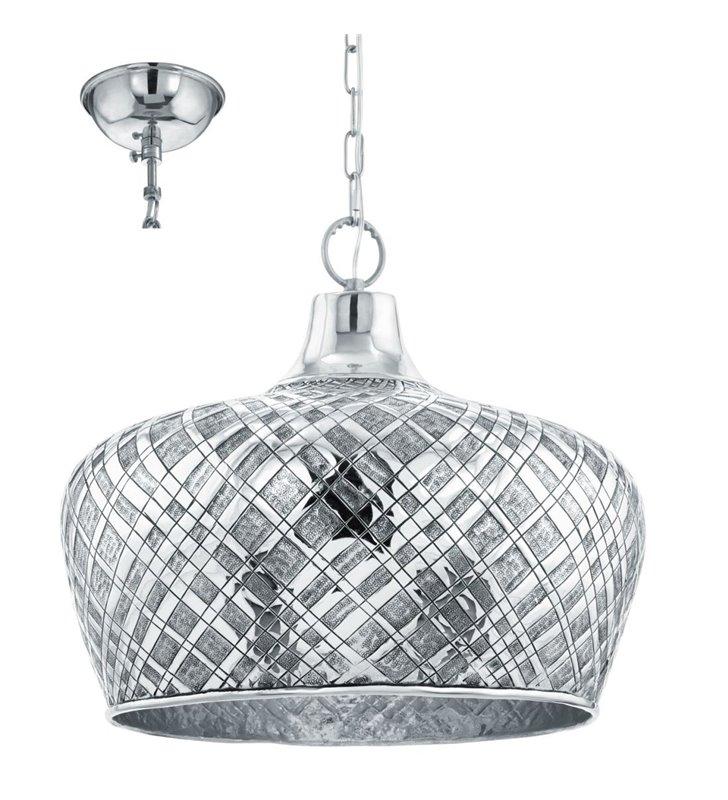 Metalowa lampa wisząca Saltash chromowana z ozdobnym kloszem