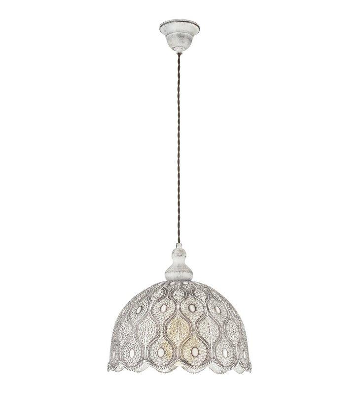 Metalowa ażurowa lampa wisząca Talbot2 w kolorze antycznej bieli styl vintage