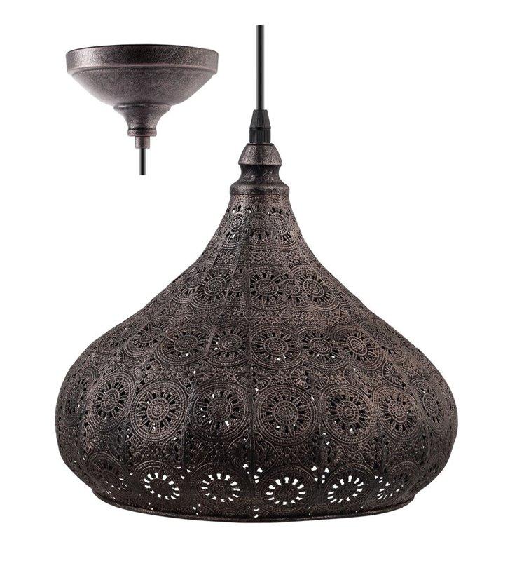 Lampa wisząca Melilla kolor antyczne srebro metalowa klosz ozdobny ażurowy