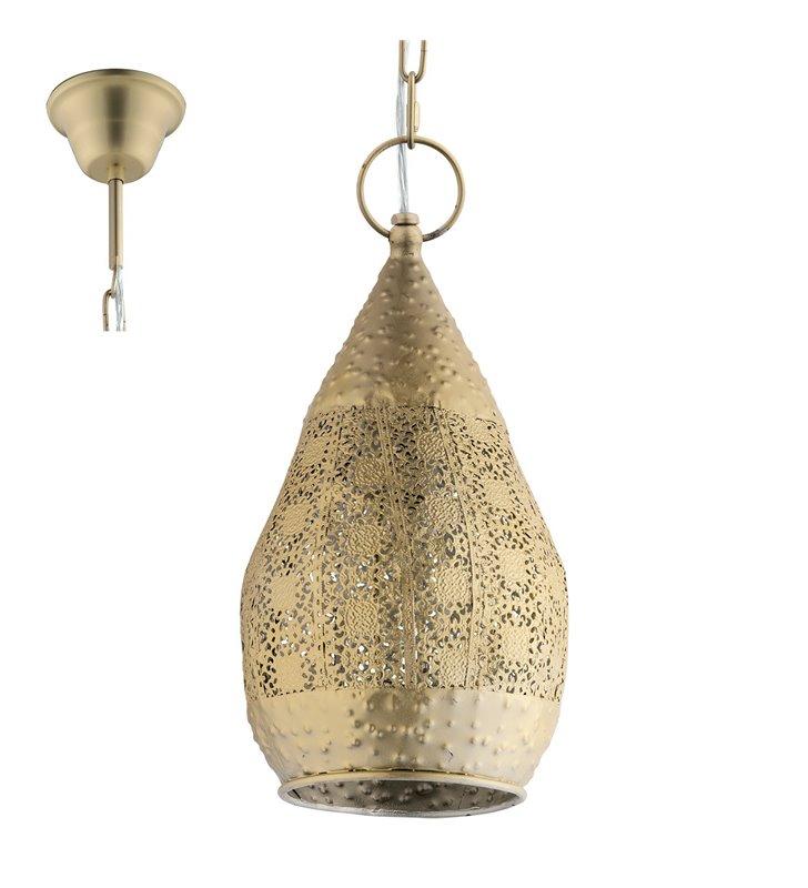 Złota pękata lampa wisząca Melilla w stylu vintage