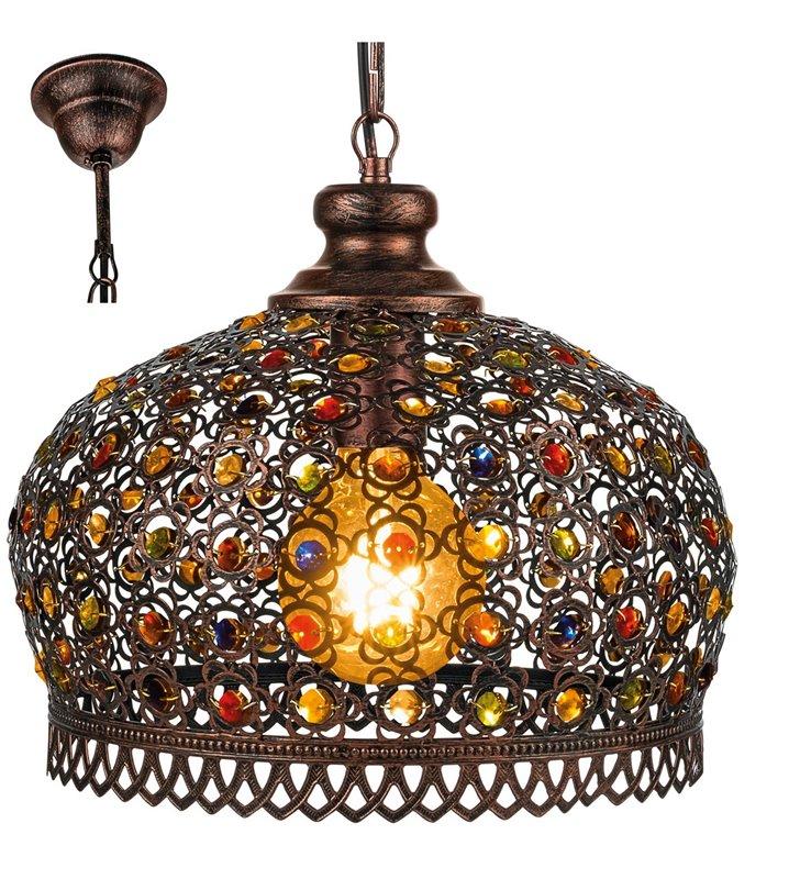 Orientalna lampa wisząca Jadida w kolorze antycznej miedzi z kolorowymi ozdobami - DOSTĘPNA OD RĘKI
