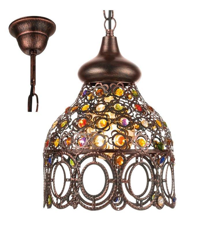 Jadida orientalna wisząca lampa vintage w kolorze antycznej miedzi z kolorowymi ozdobami
