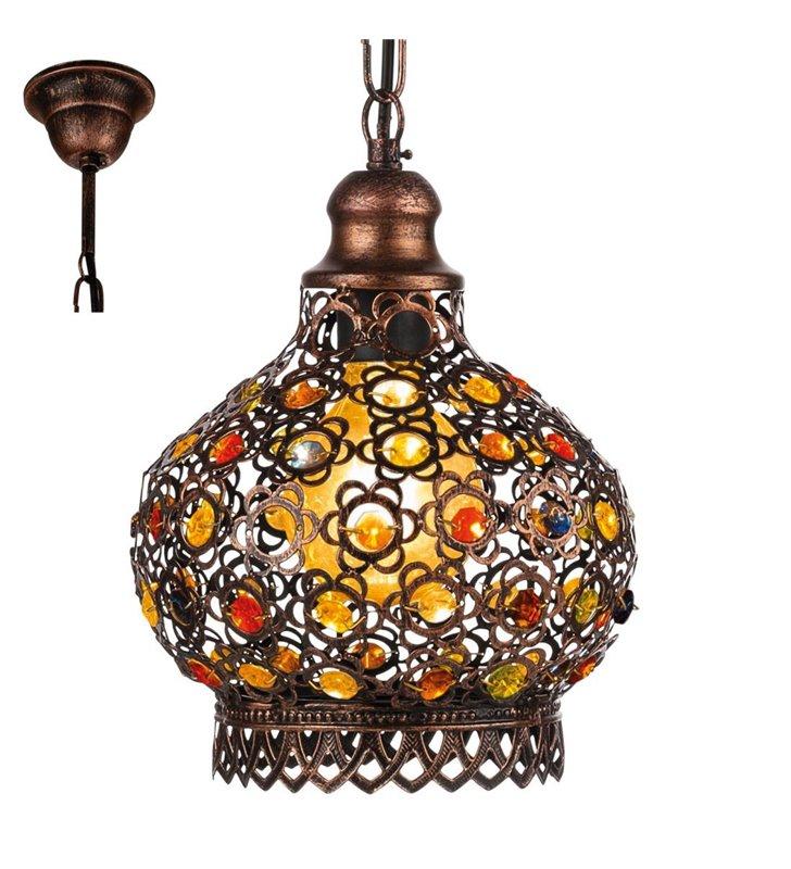 Jadida wisząca lampa vintage w kolorze antycznej miedzi dekoracyjna styl orientalny