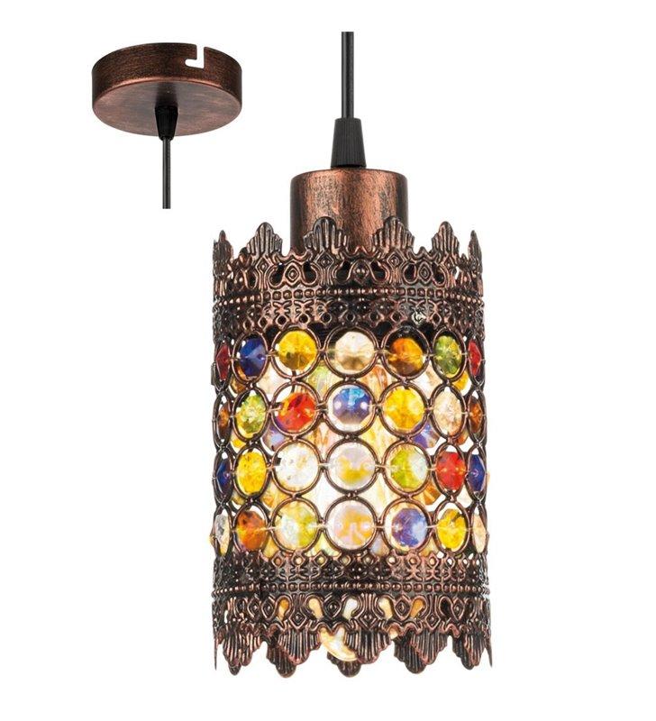 Orientalna lampa wisząca Jadida kolor antyczna miedź ozdobiona kolorowymi szkiełkami