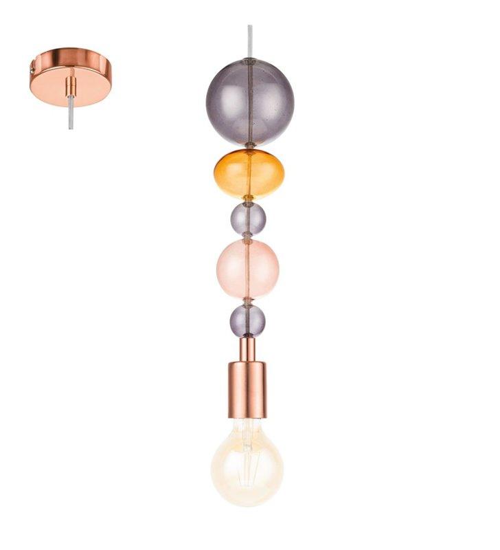 Lampa wisząca Avoltri1 miedziana z dekoracyjnymi kolorowymi szklanymi kulami kabel do żarówki