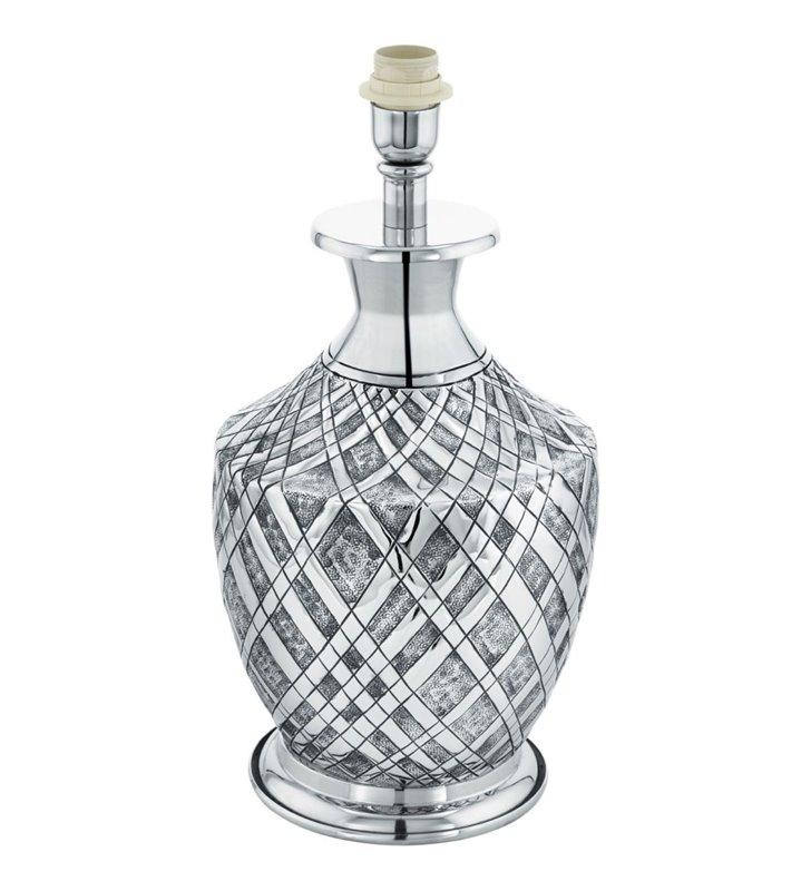 Saltash lampa stołowa w kolorze chrom z dekorem elegancka stylowa metalowa przełącznik na przewodzie